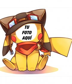 Fotomontaje de una ilustración de Pikachu que puedes editar