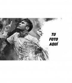 Collage con una imagen de Neymar en blanco y negro