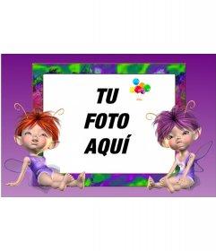 Marco de fotos, con dos hadas, fondo rosa para niños
