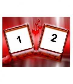 Marco para dos fotos con fondo de color rojo y corazones. Ideal para enamorados en el día de San Valentín. Muy elegante