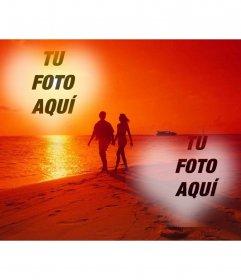 Collage de la playa y una pareja para poner tus fotos en un corazón