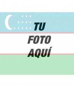 Collage para hacer online con la bandera de Uzbekistán junto con tu foto