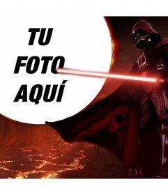 Darth Vader rodeado de lava con tu foto en la luna