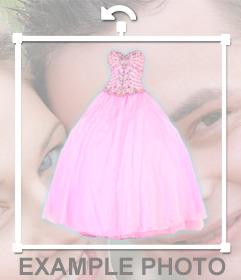 Pegatina de un vestido rosa de quinceañera