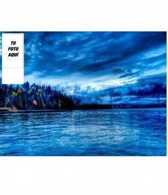 Haz tu fondo de pantalla personalizado para twitter con tu foto y de fondo un paisaje de agua y un bosque
