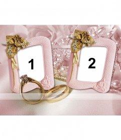 Marco para fotos de dos fotos con fondo de rosas amarillas, anillos de boda y joyas
