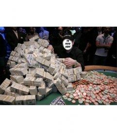 Fotomontaje de un ganador de un millón de dólares jugando al poker