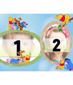 Marco infantil con los personajes del show de televisión de Winnie de Pooh viviendo aventuras