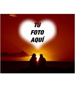 Collage de amor en forma de corazón, una pareja y puesta de sol