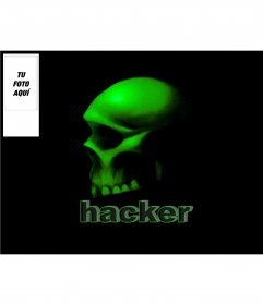 Fondo de twitter con el texto Hacker y una calavera con un espacio para poner tu foto