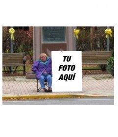 Foto montaje divertido para poner tu foto en un cartel en la calle