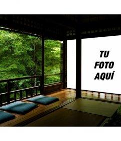Fotomontaje de un zen japonés y tu foto proyectada en una de las paredes
