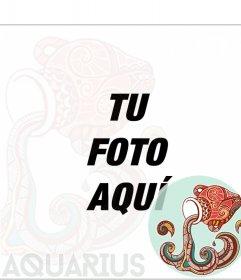 Plantilla del signo del zodiaco Acuario para poner tus fotografías