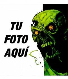 Fotomontaje con un zombie atacando