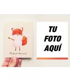 Tarjeta de agradecimiento con un tierno zorro donde puedes poner tu foto
