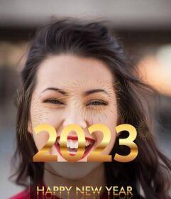 Parabéns 2020 com letras douradas na sua foto