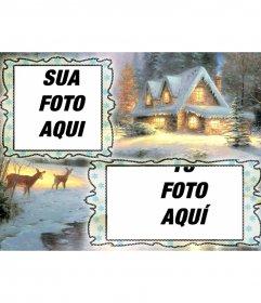 Cartão de Natal de carregamento onde você pode colocar duas fotos, fundo com uma casa nevada e um cervo