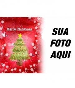 Congratula-se com os feriados com este quadro de imagem de fundo vermelho, que mostra uma árvore de Natal e vinha em branco