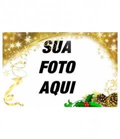 Moldura festiva com ouro enfeite de Natal estrelas. Para personalizar suas fotos neste feriado