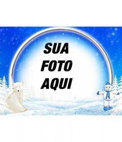 Fotos do quadro de paisagem de neve, urso polar e boneco de neve