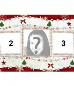 Cartão de Natal para três fotos e enfeites de Natal