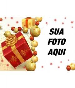 Cartão de Natal on-line com os presentes para adicionar seu retrato
