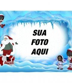 Cartão do Natal de Papai Noel na paisagem gelada. Onde você pode colocar uma foto online