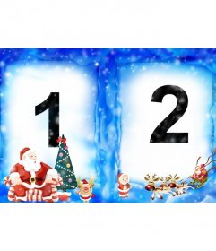 Coloque duas de suas fotos em uma moldura de Natal com Papai Noel