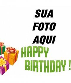 Fotomontagem para fazer um cartão de aniversário com sua imagem com o texto BIRTHDAY