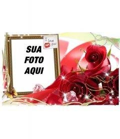 Cartão de Amor para colocar a imagem que você quer com uma quadrado com um postit com um beijo e o texto EU TE AMO!
