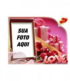 Dia dos Namorados cartão postal em forma de caixa com fundo rosa com o LOVE de texto