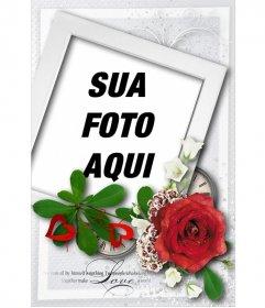 Cartão com estilo polaroid  e uma rosa, especial para o Dia dos Namorados