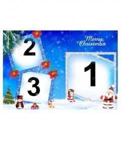 Cartão de Natal em que incluem três fotografias. Refere-se aos presentes de Papai Noel e mostra a árvore de Natal, um boneco de neve e quadros azuis com efeito purpurina adornado com plantas vermelhas