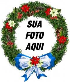 Moldura para fotos em forma de ornamento redondo de Natal