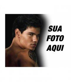 Personalize a sua foto com o protagonista da lua nova (Jacob). Nesta foto-montagem vai acompanhar o famoso ator Taylor Lautner, que representa um lobisomem