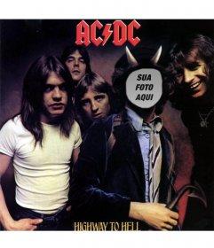 """Photomontage com a tampa de de Highway To Inferno, AC DC, Bon Scott nós  """"ll estar com chifres"""