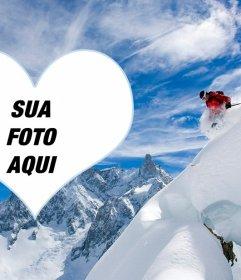 Foto moldura de um esquiador para colocar sua foto em um coração