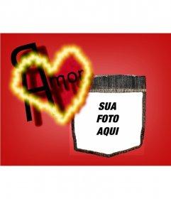 Mensagem fundo dos Namorados com um coração vermelho. Personalize com sua foto