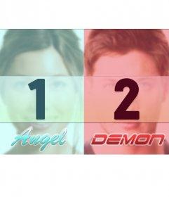 Colagem para duas fotos com duas margens diferentes; uma para e outra para anjo diabo