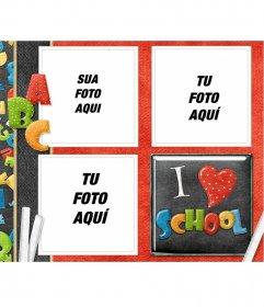 Quadro para três fotos com o tema da escola