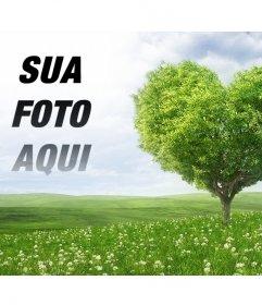 Fotomontagem para colocar uma foto ao lado de sua árvore em forma de coração