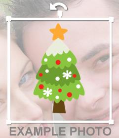 Etiqueta em linha de uma árvore de Natal agradável para decorar suas fotos