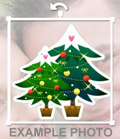 Etiqueta em linha de dois abetos para decorar suas fotos do Natal