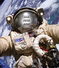 Fotomontagem de astronauta em uma caminhada espacial para colocar sua foto