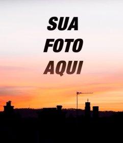 Pôr do sol em uma cidade onde você pode colocar sua foto de fundo