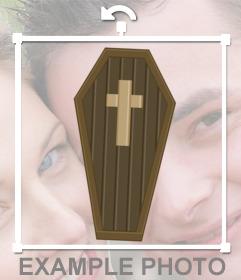 Etiqueta de um desenho de um caixão com uma cruz