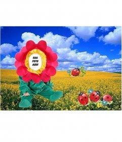 Costume da flor no prado, para colocar o rosto do seu bebê