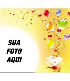 Porta-retrato, por ocasião da festa de aniversário, fundo amarelo com flâmulas, estrelas e balões para fora de uma caixa de presente
