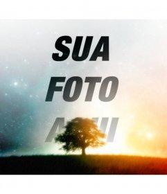 Faça uma colagem de um céu estrelado com a sua imagem