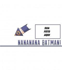 Fotomontagem de uma foto de capa com um desenho de Batman